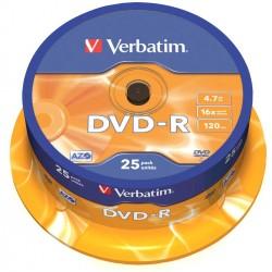 DVD -R VERBATIM 4.7GB 16X TARRINA 25 UNIDADES